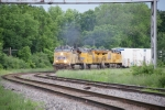 UP 5433, 7513, 7844 - detoured UP ZDLSK / CSX L090 pulls out of Oneonta Yard following a crew change