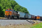 BNSF 5338 Leads a grain train Sb!