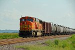BNSF 9991 Work's dpu on a sb Loaded oil train.