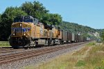 UP 6076 WB empty coal train can be seen in downtown Pacific Mo.