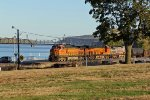 BNSF 4891 Leads a freight into the setting sun.