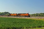 BNSF 7860 Rips on a Nb empty intermodal train.