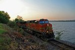 BNSF 4574 next to the ole Mississippi river,
