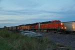 BNSF 6163 Slow's for a train meet last light of the day!
