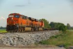 BNSF 6734 Leads a Empty Spine train Nb into Old Monroe Mo.