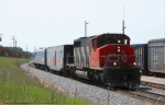 CN 5274 with the CN Geometry Test train heading southbound on the mainline at Stevens Point.