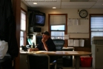 Stevens Point relief Yardmaster Jason Laramee checks out the Dispatcher Screens for traffic.
