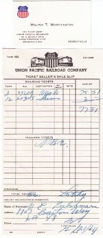 Union Pacific Ticket Agent's Business Card and Sales Slip for City of Los Angeles Tickets