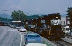 An eastbound inspection train