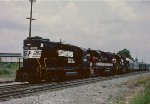 An inspection train changing crews and preparing to head south to Atlanta.