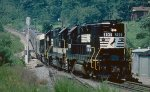 A NS Inspection train descending Saluda Grade.