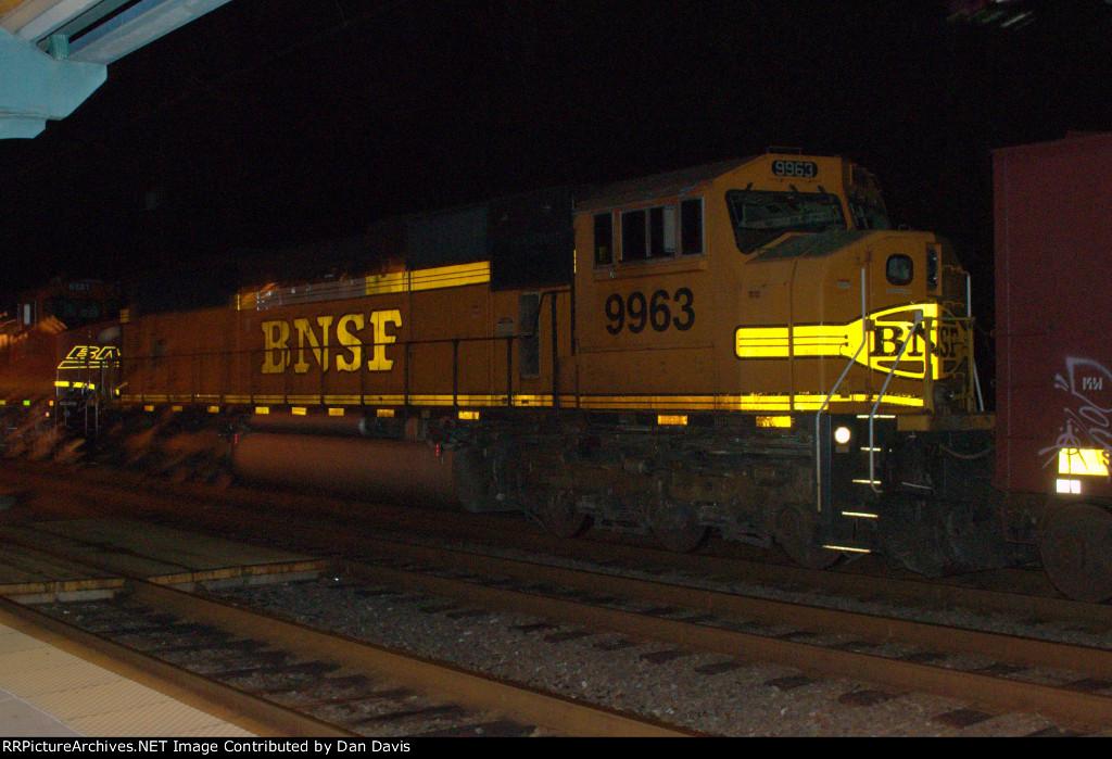 BNSF SD70MAC 9963 trails on K041-21