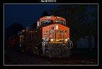 BNSF 7815, CSX 359, 657, and 8579 leading a unit grain train west