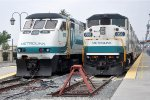 Tied down commuter trains wait out the weekend