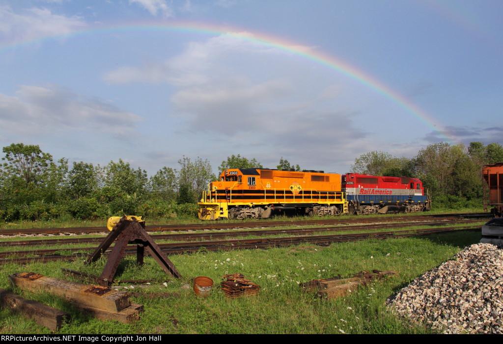 QGRY 2303 & RLK 4095 sit in the Goderich Yard under a rainbow