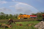 QGRY 2303 & RLK 4095 sit in the Goderich Yard under a rainbow