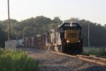 6936 & 2247 roll through a pocket of morning sunshine as they lead D707 west at Seymour