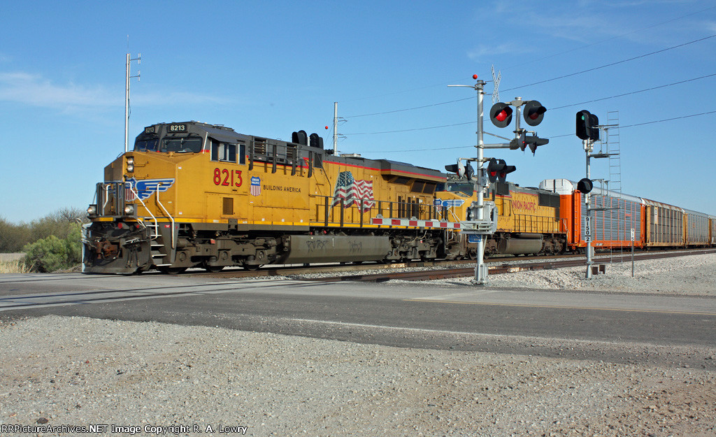 UP 8213 in the Lead Departing Casa Grande for Maricopa and Points West and Yes That is a Green Signal for Another Eastbound