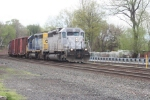 Q434, with a pair of SD40's,  heads north on track 2 on a grey afternoon