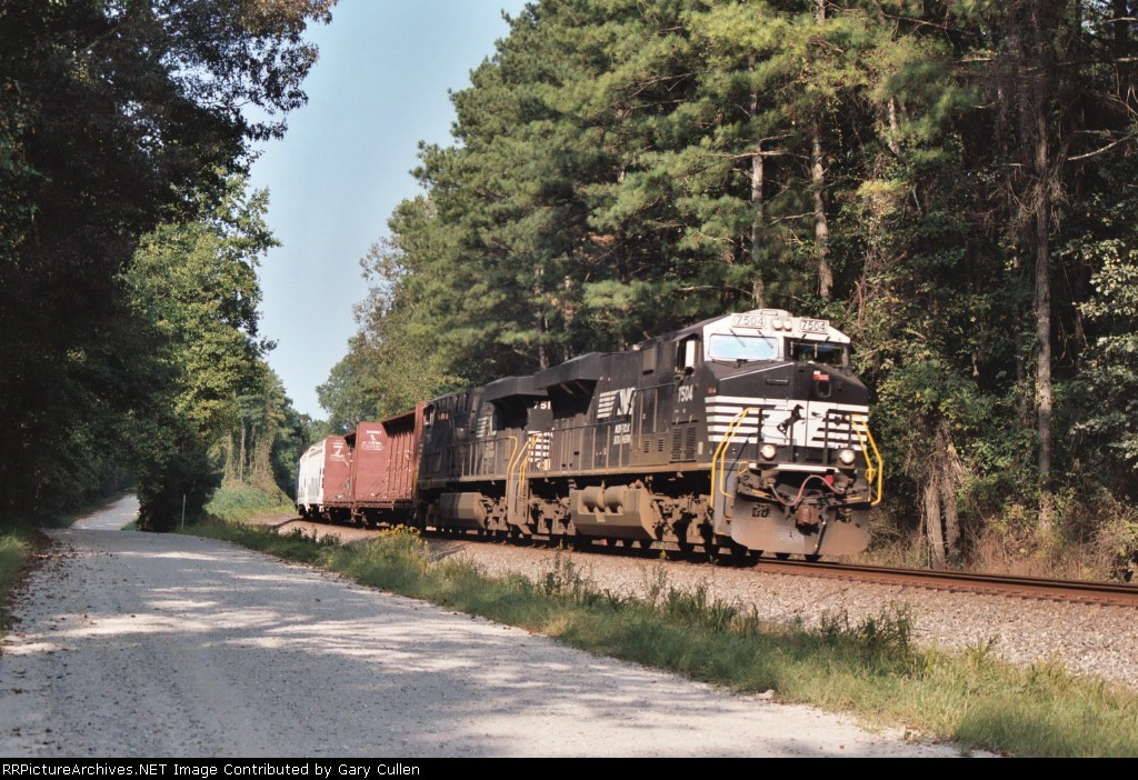 """NS Train #153 approaching the signal called """"Newtrack"""" in August, 2005"""