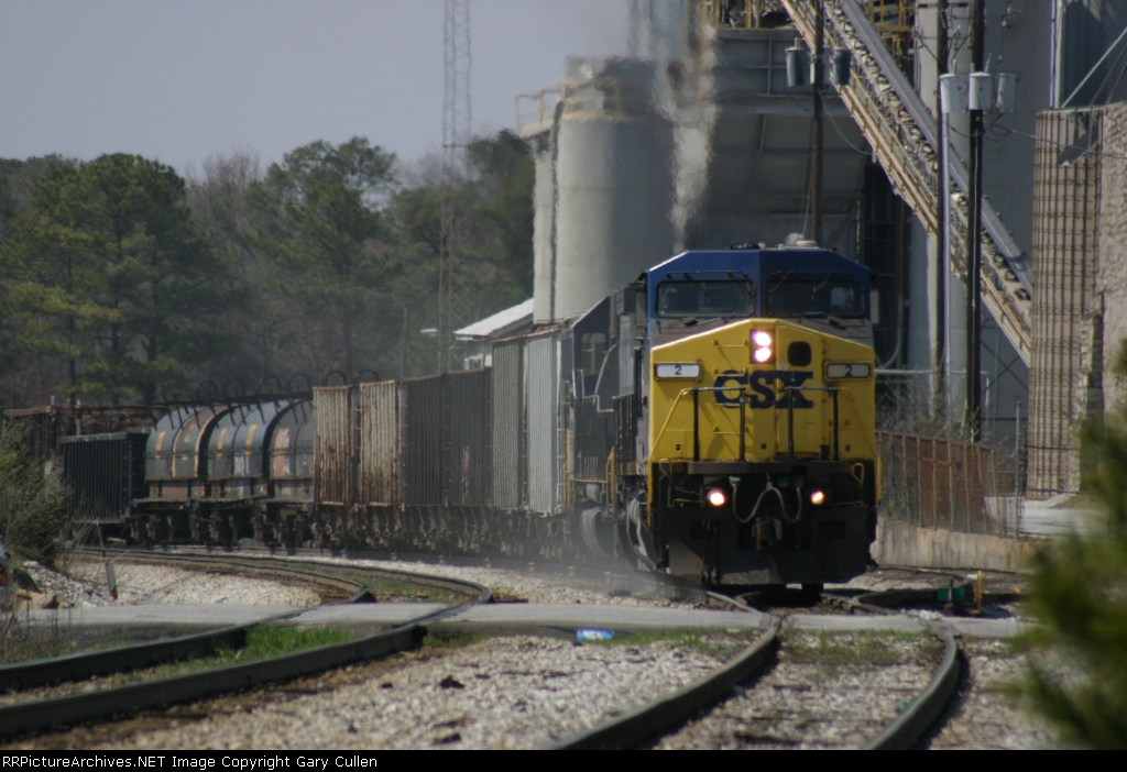 CSX #2 moves out after waiting on 2 trains