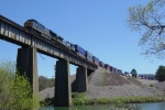 "CSX ""Dark Future GEVO - Bright Future Dash-9"" Intermodal crosses Etowah River Northbound - awesome sight & sound!!"