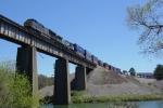 "CSX ""Dark Future GEVO - Bright Future Dash-9"" Intermodal crosses Etowah River Northbound - awesome sight & sound!!"