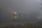 NS Train #222 cutting the rain & fog past Newtrack