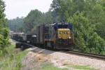 "CSX Work Train crosses the Alcovy River Bridge approaching ""North Lawrenceville"" Control Point"