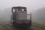 NYO&W #104 poses in the morning fog at the Southeastern Railway Museum