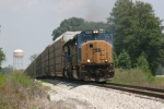 CSX southbound rack train crests the hill