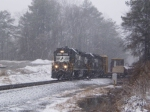 NS Train #P68 blasts south through the snow