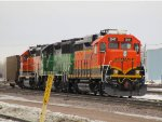 BN 3128, BNSF 2547, 3008 & single Hopper