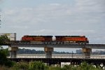 BNSF 7783 Heads up a EB stack train on the Highline.