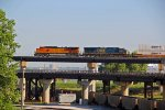 BNSF/CSX combo on a Wb stack train on the flyover.