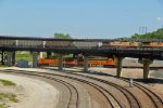 BNSF 7361 Wb auto train while a EB UP coal is above!!