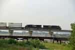 CSX 5205 Brings a stack train across the Flyover in Downtown Kc.