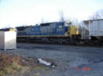 CSX 7575 Runs long hood forward behind an SD40-2 EB on the #1 Track