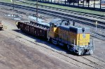 UP SW-10 switches the intermodal yard at Omaha Union Station in 1982.