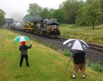 NS 9972 leads its high / wide cargo east over the LEHL on a rainy day