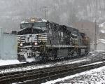 NS 7708 rolls through Williamson in a heavy snow storm.