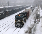 NS 9738 rolls through the latest snowstorm through the yard at Williamson.