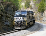 NS 9201 rolls through a rock cut on Wolf Creek.