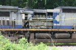 CSX 7847 hood ripped up by a tree