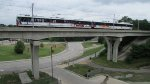 St. Louis MetroLink crosses the viaduct off the old Wabash toward UMSL North.