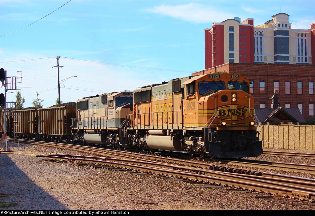BNSF 9929 leading a loaded coal on main #1.