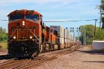 BNSF 6936 crosses over from main #1 to main #2.