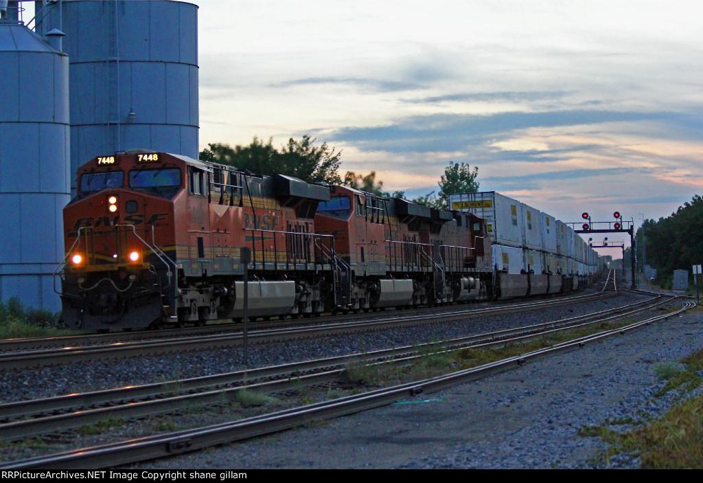 BNSF 7448 Rolls a EB stack train into La plata Mo.