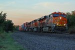 BNSF 6566 Newer C4 gevo works a EB stack in morning light!