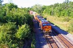 BNSF 6850 Heads up a EB stack train.
